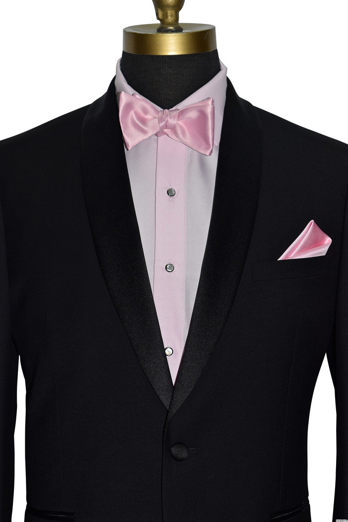 black tuxedo with pink shirt and pink bowtie
