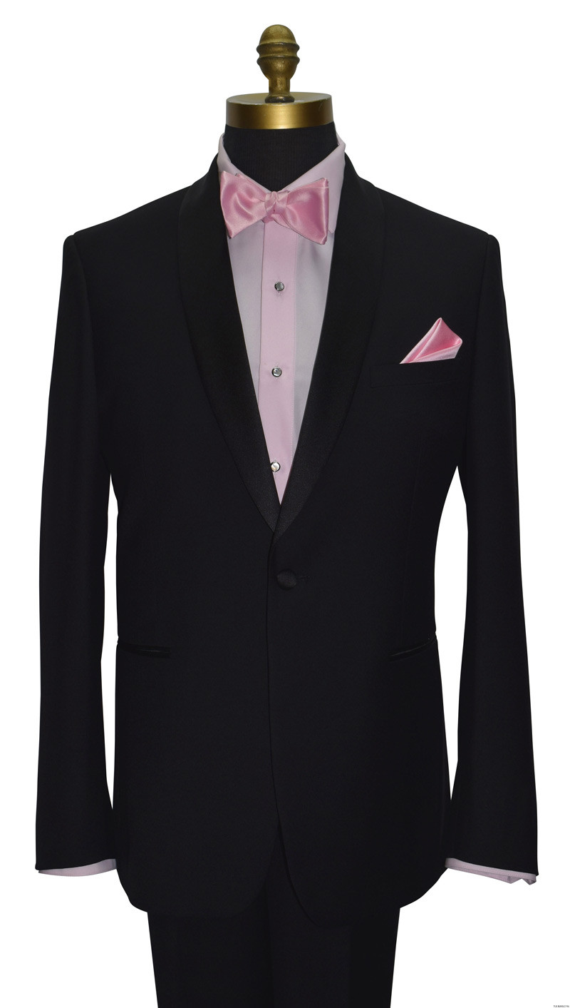 pink tuxedo shirt and pink bowtie