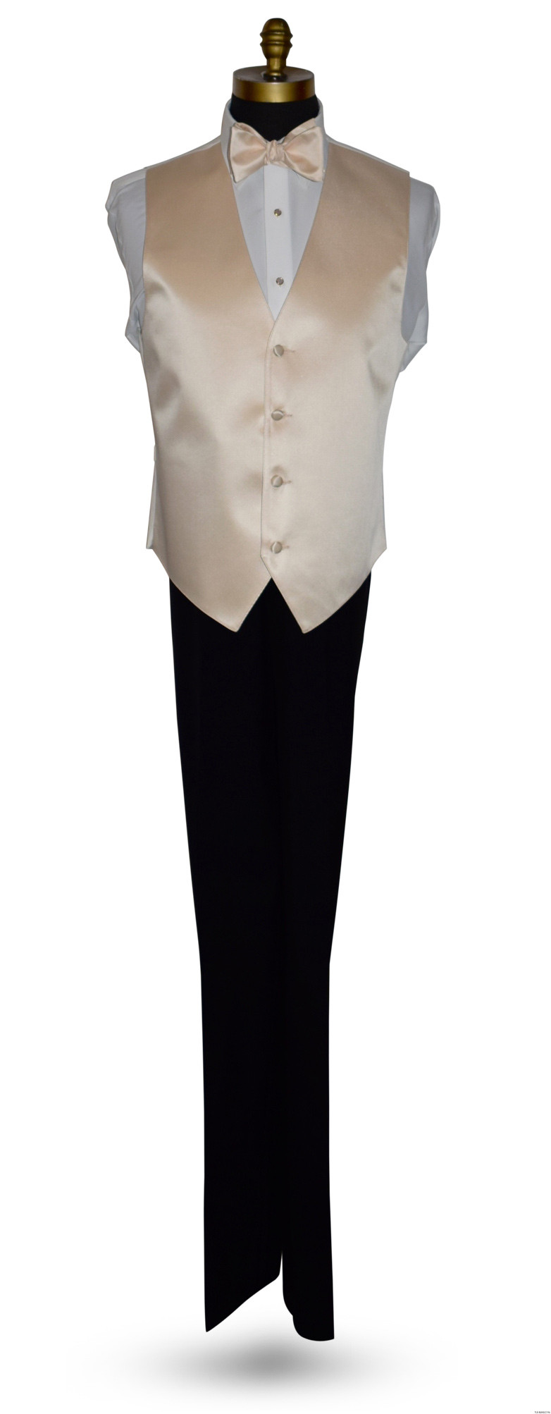 champagne tie-yourself bowtie and champagne vest by San Miguel Formals