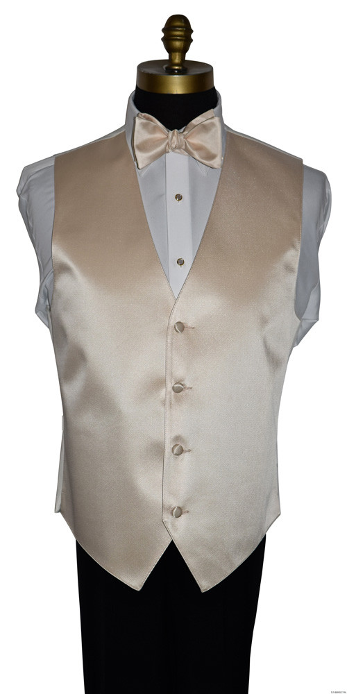 champagne vest and champagne self-tie bowtie with pearl studs and cufflinks by San Miguel Formals