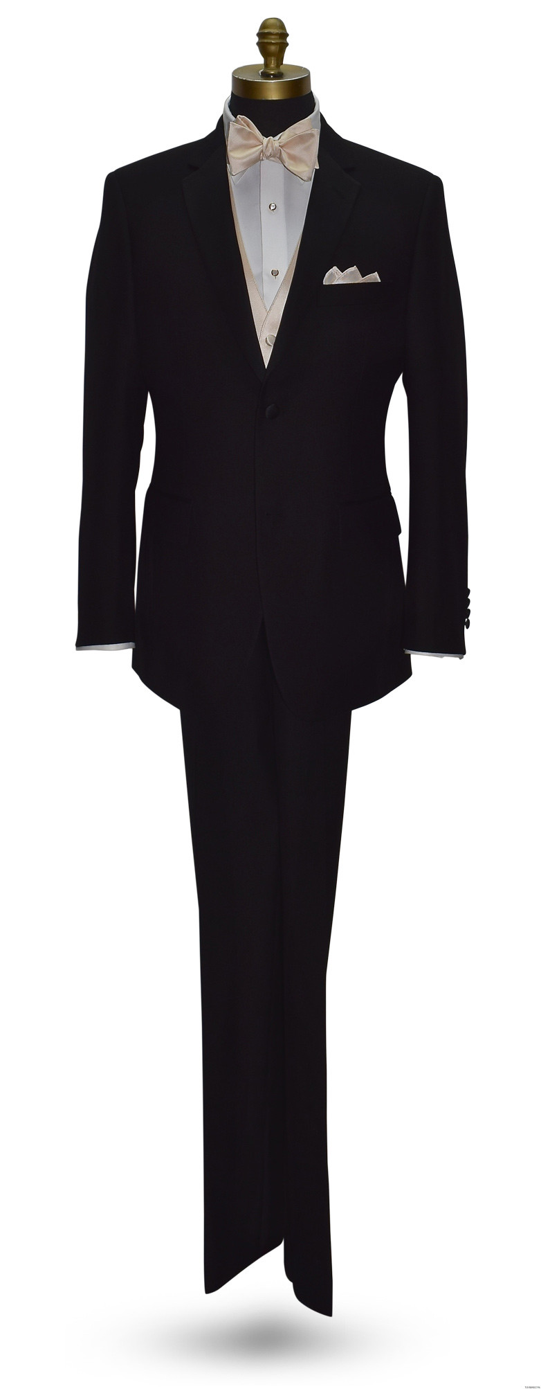 black wedding tuxedo with champagne vest and bowtie on tuxbling.com