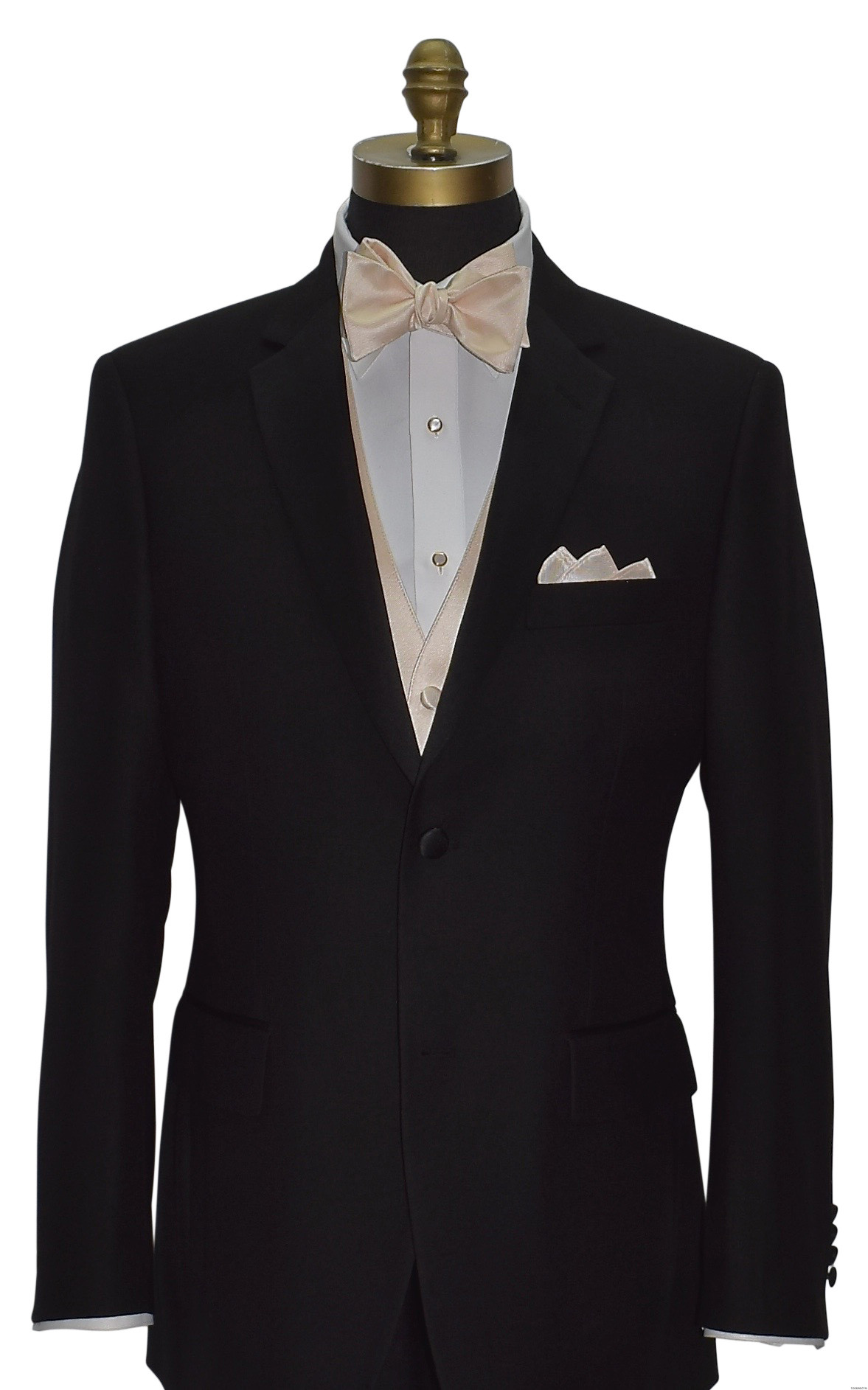 black tuxedo with champagne vest and champagne bowtie on tuxbling.com
