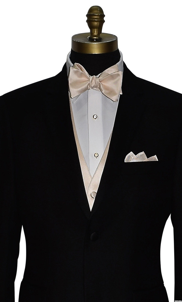 champagne self-tie bowtie and vest with mother of pearl studs and cufflinks