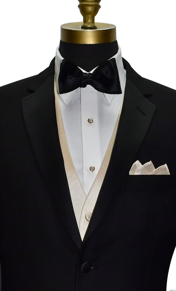 men's champagne colored vest with black tie-yourself bowtie by San Miguel Formals