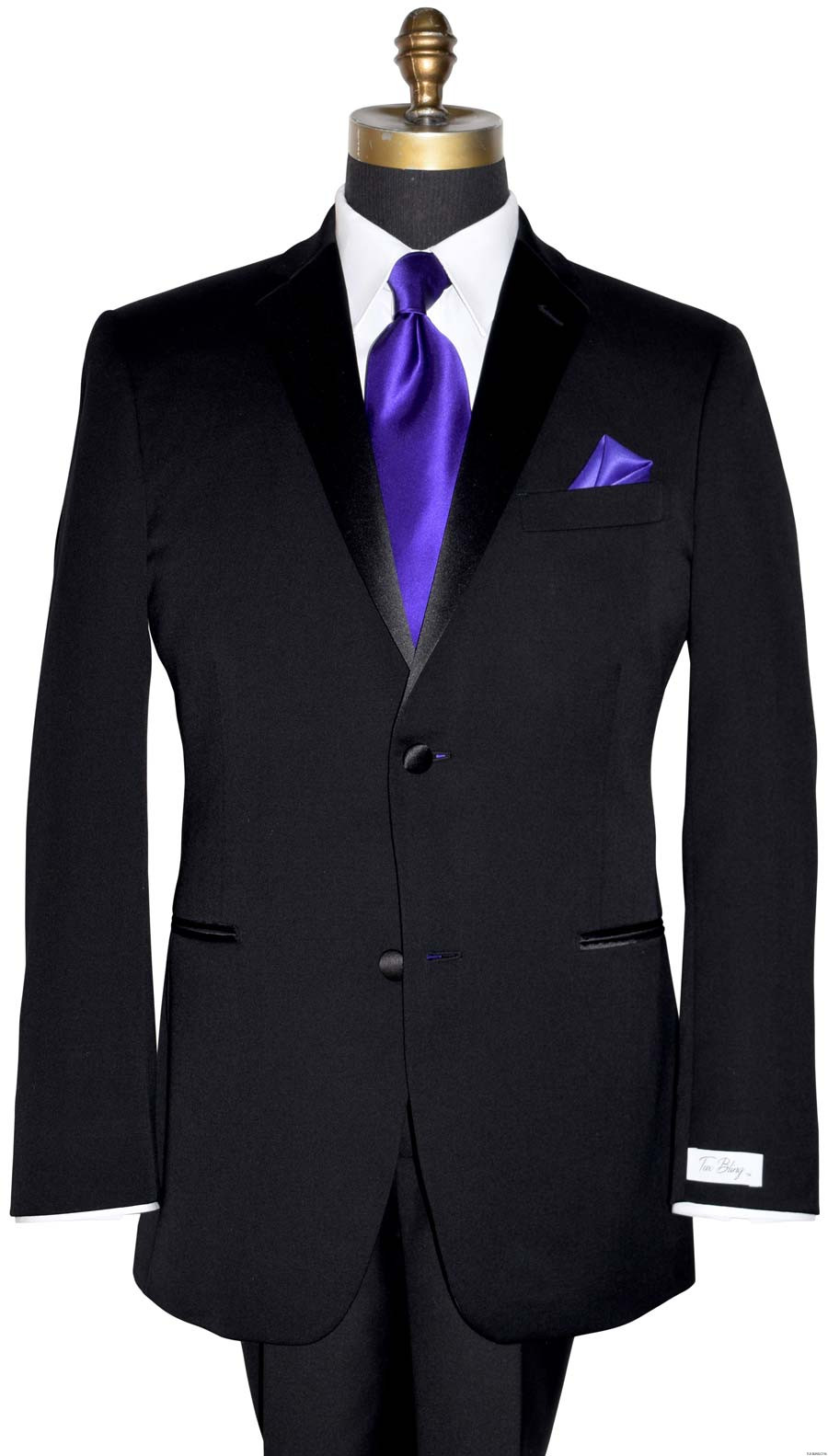 men's tuxbling.com black tuxedo with regal purple long silk tie and pocket hanky