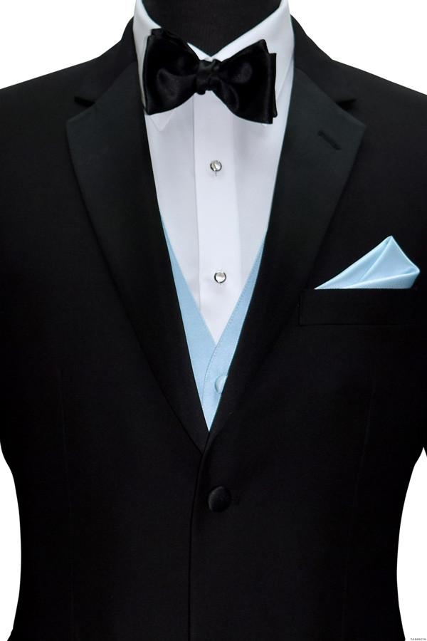 men's capri blue vest with black bowtie by San Miguel Formals
