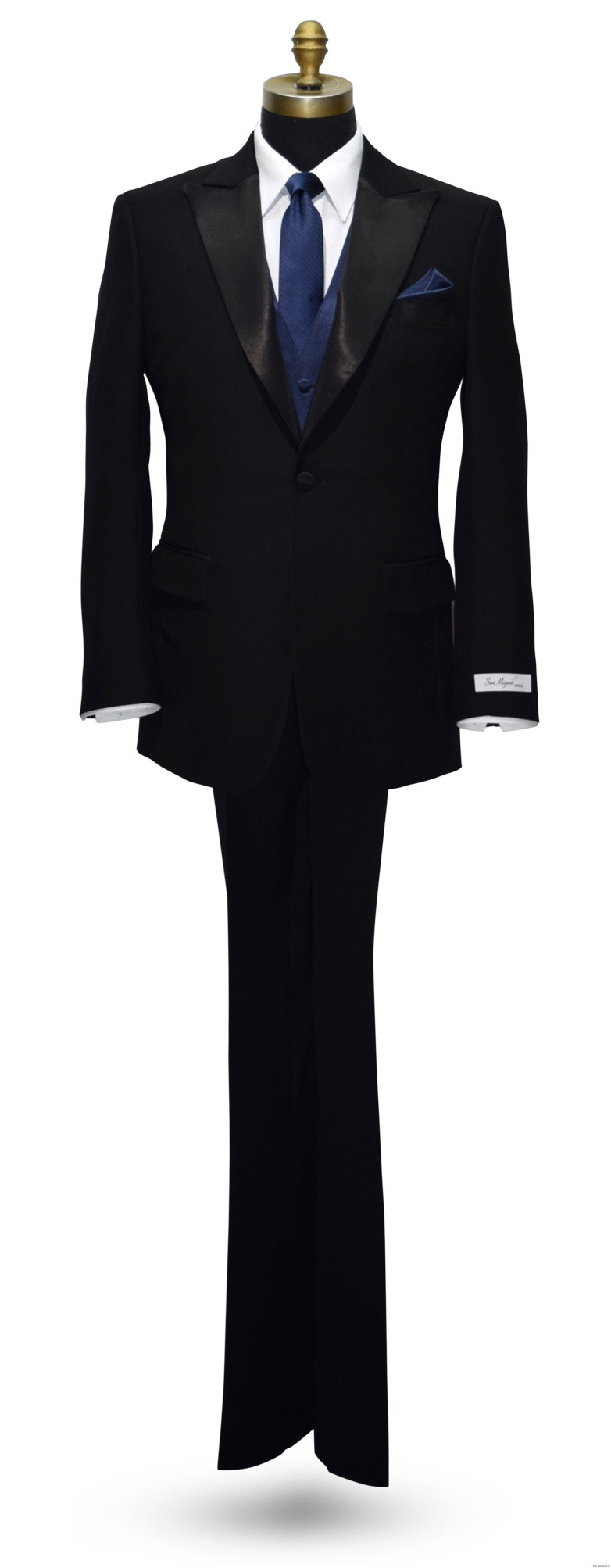 San Miguel black peak lapel tuxedo with navy blue vest and navy blue long tie