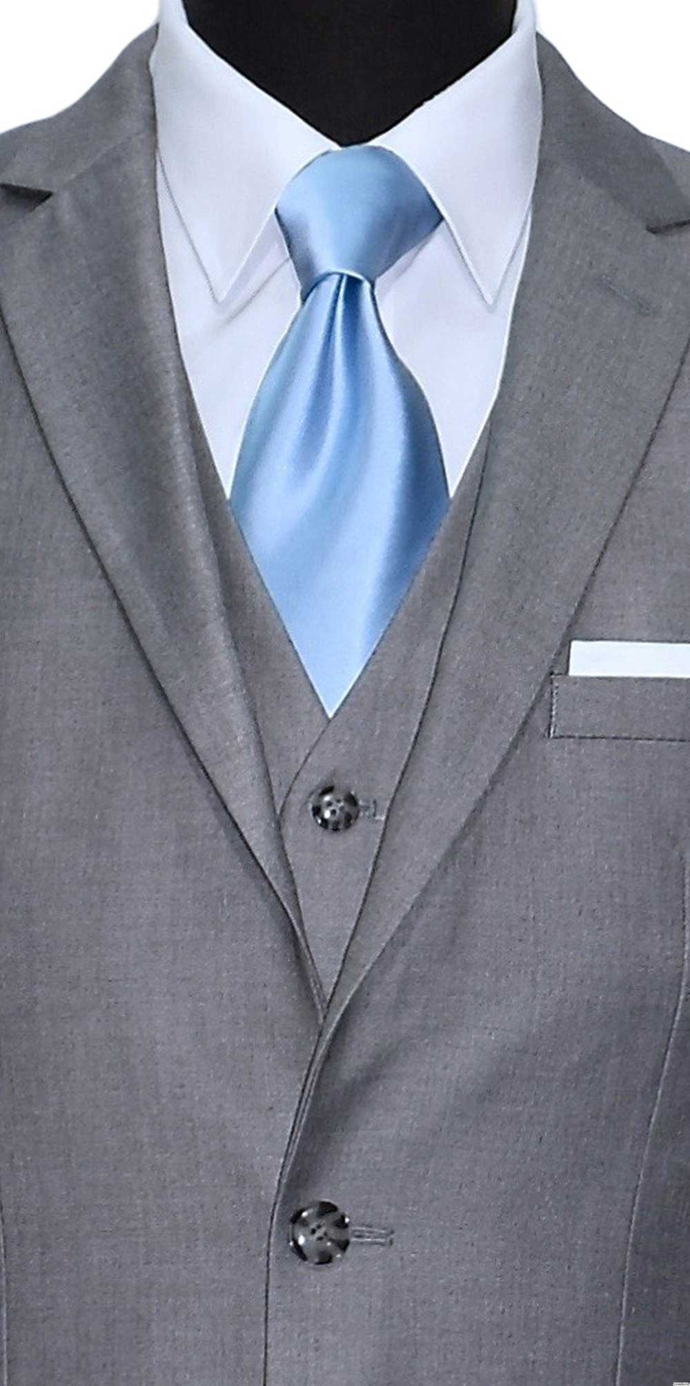 gray men's 3 piece suit with light blue silk dress tie