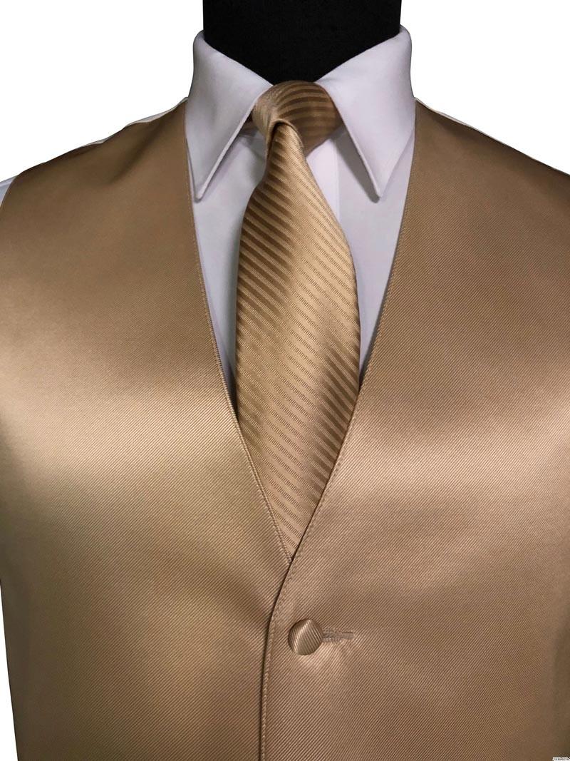 men's and boy's golden vest with striped long golden dress tie on tuxbling.com