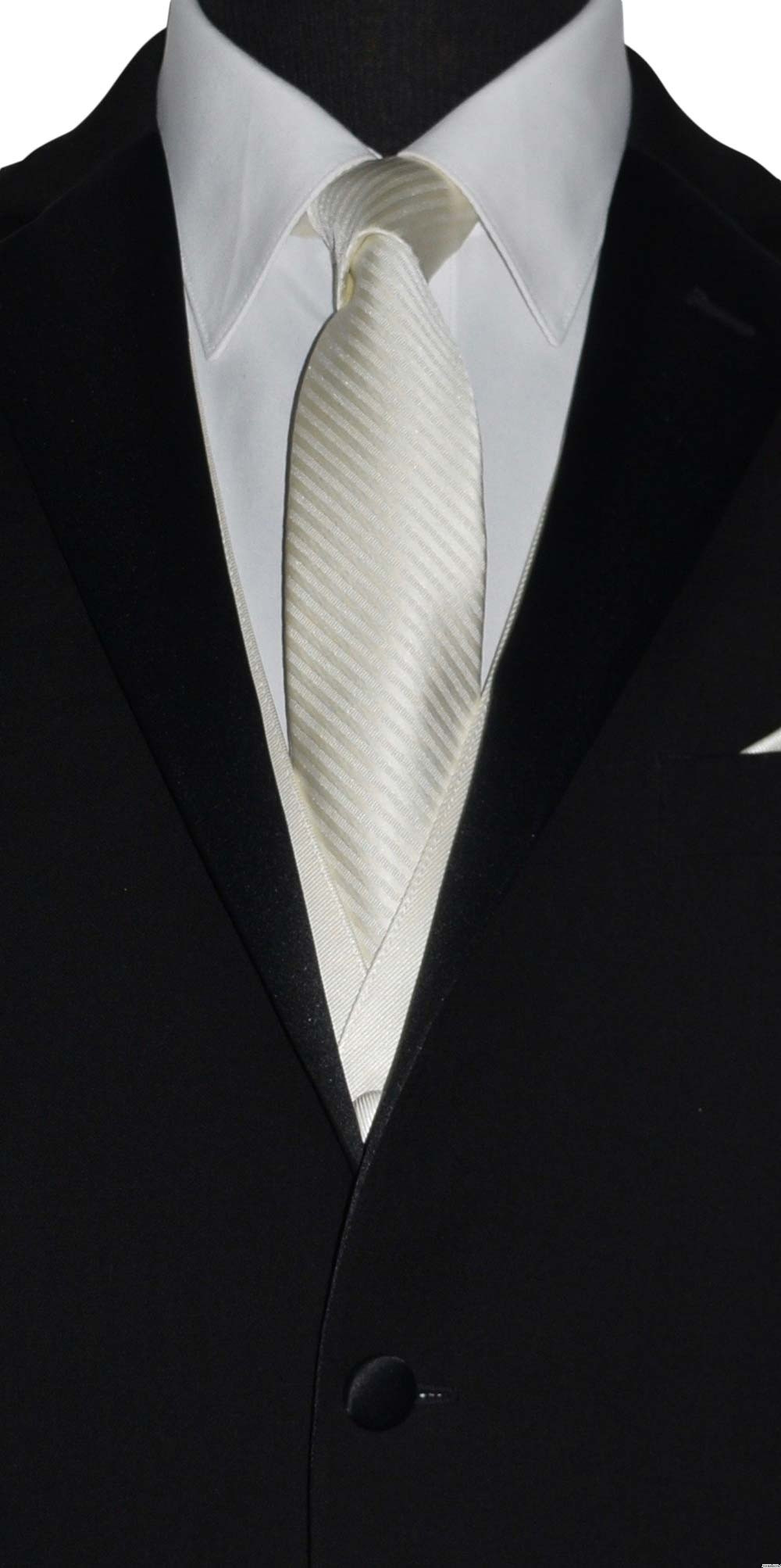 off-white ivory long tie for groom to match off-white ivory bridal by San Miguel Formals