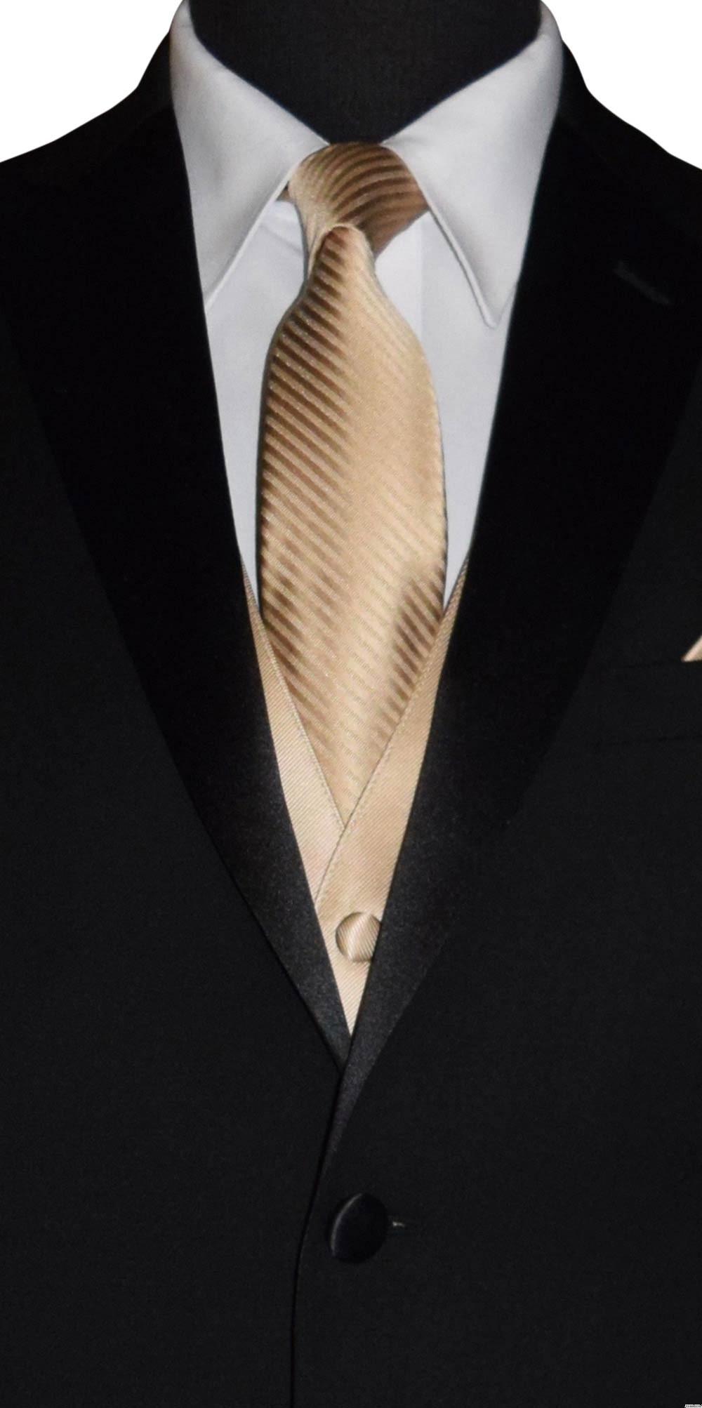 men's and boy's golden vest and golden long skinny dress tie on tuxbling.com