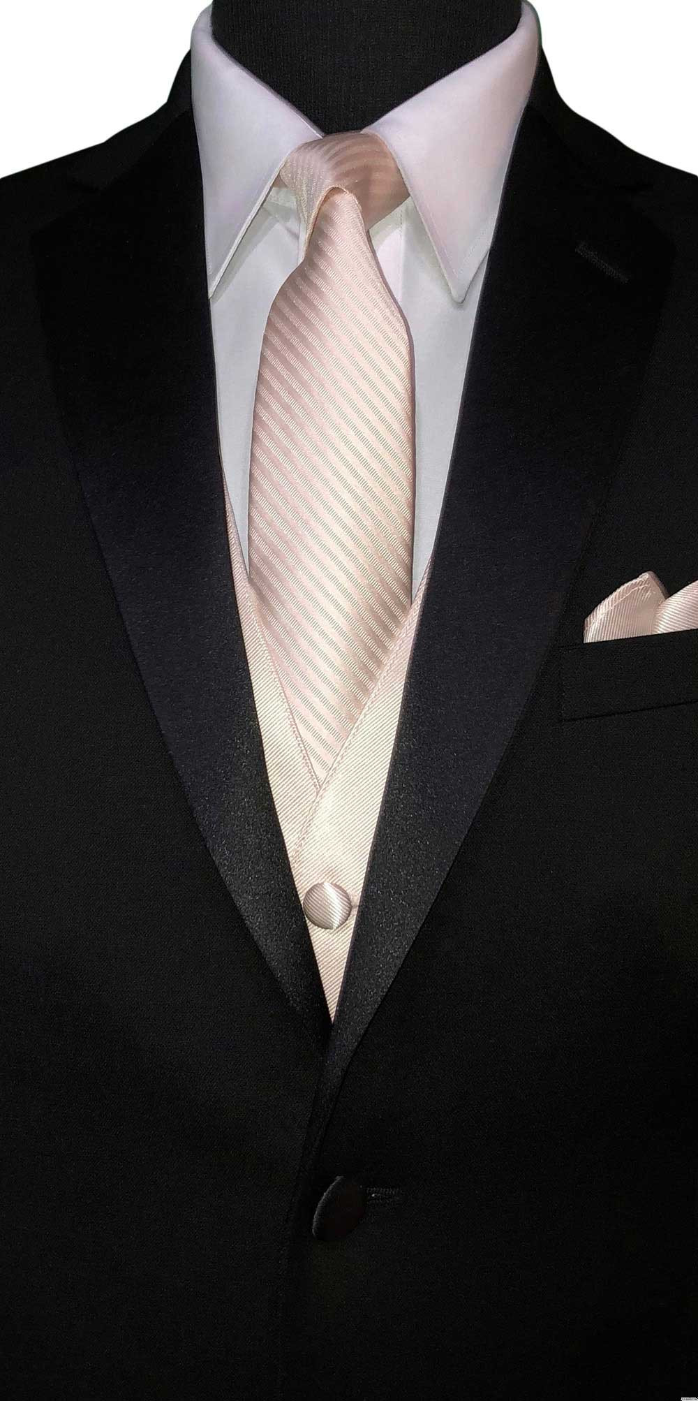 nude dress tie and pocket square