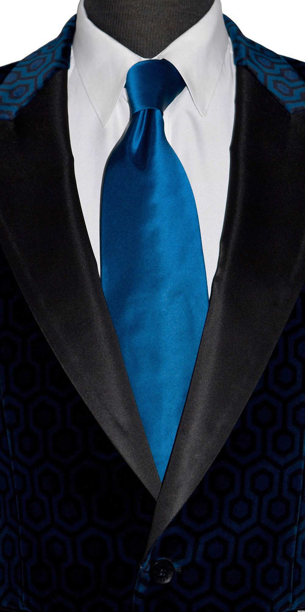 sapphire blue silk long tie for men