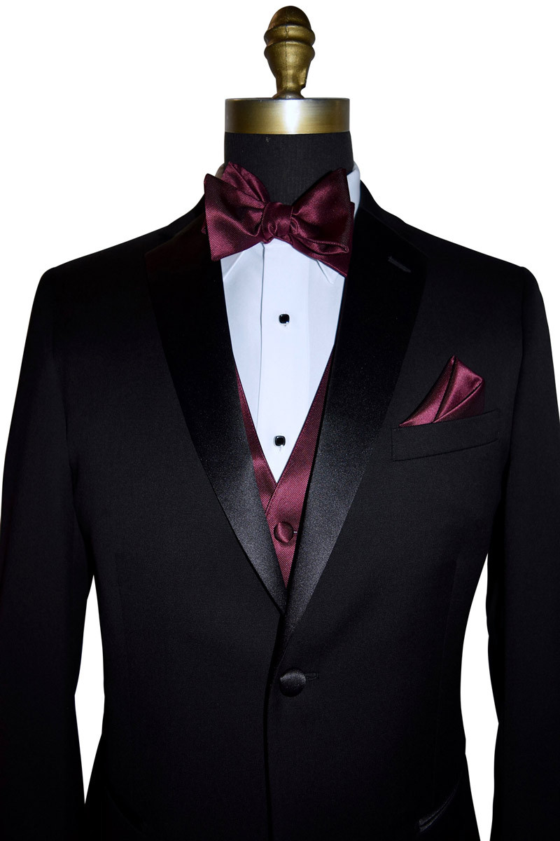 close-up wine bow, vest and pocket handkerchief
