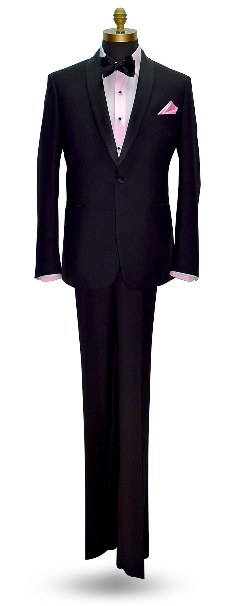 full size black tuxedo with pink tuxedo shirt