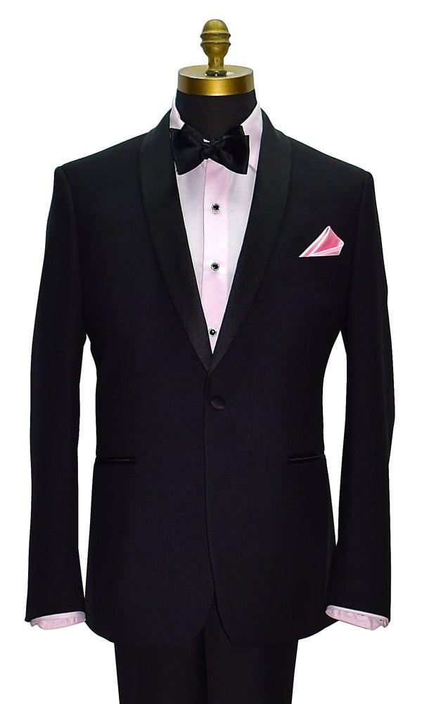 pink tuxedo shirt with black tuxedo