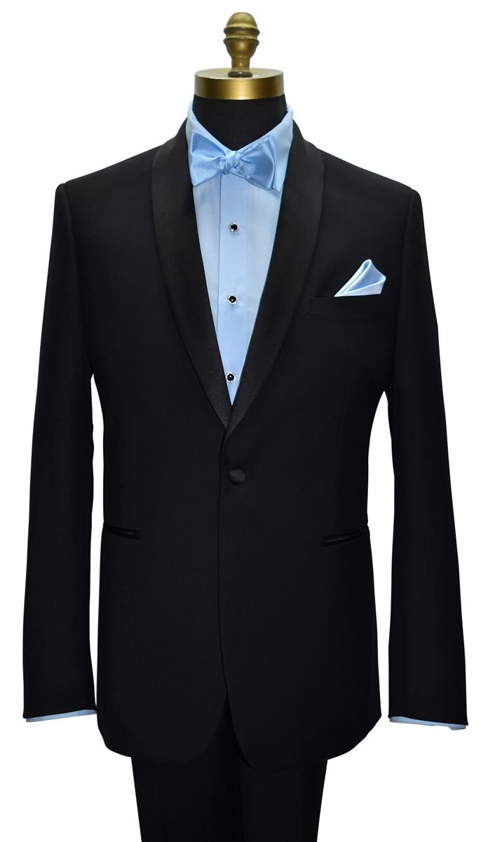blue tuxedo shirt with tuxbling studs