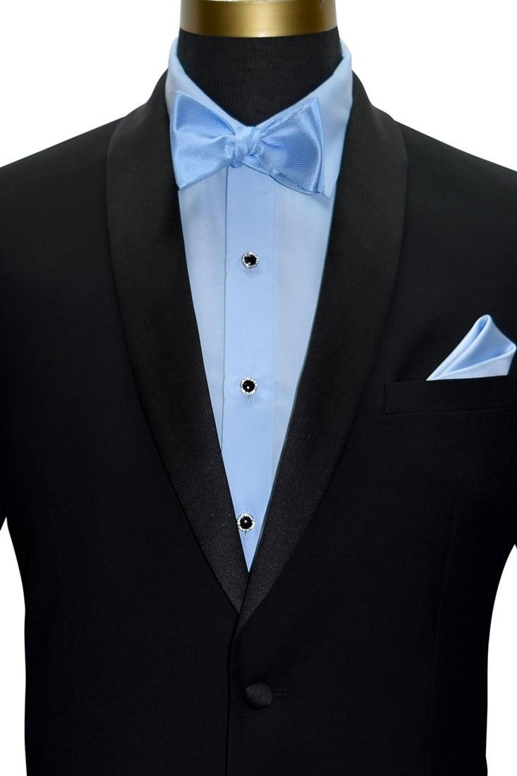 blue tuxedo shirt