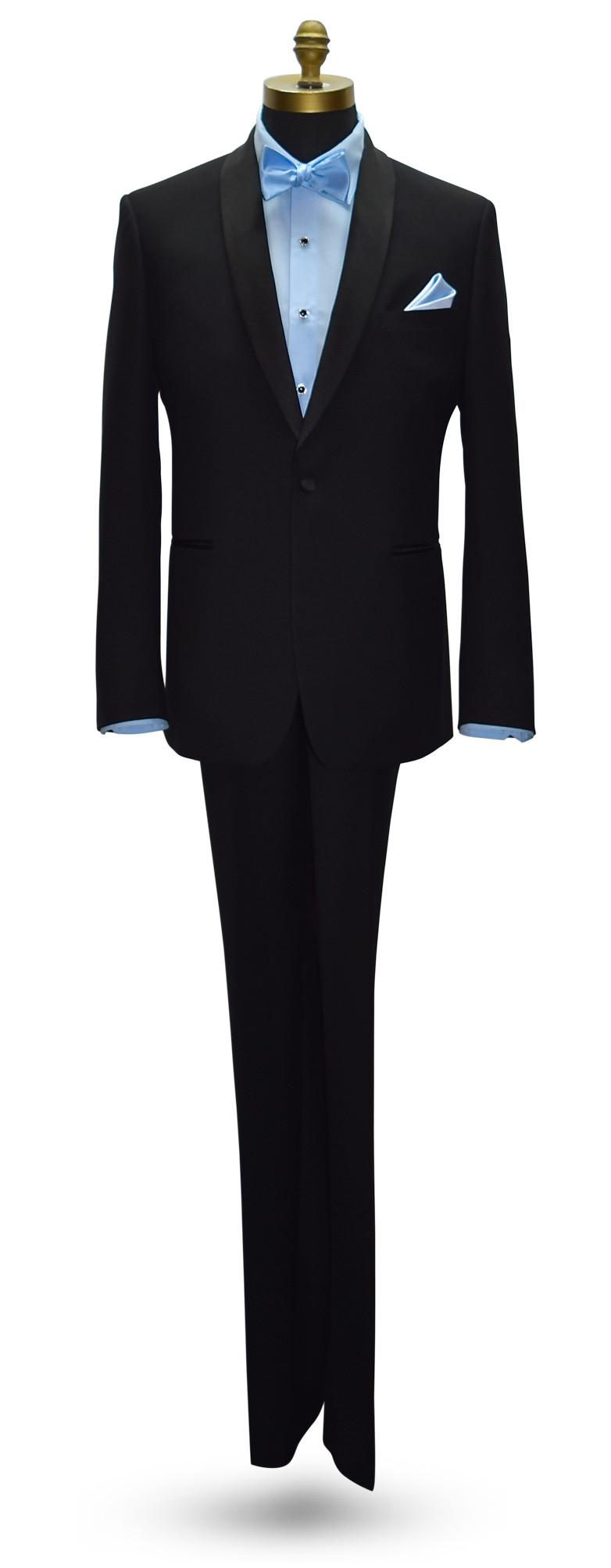 blue tuxedo shirt with blue bowtie